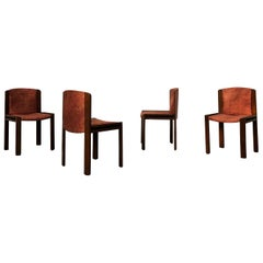 "Joe Colombo Midcentury Walnut ""300"" Dining Chairs for Pozzi, 1966, Set of 4"