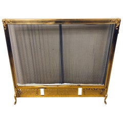 Finely Detailed Louis XVI Solid Brass Fire Screen