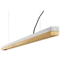Modern Oak and Grey Concrete Pendant Light, Large Contemporary Table Light