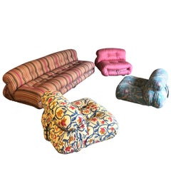 "Afra & Tobia Scarpa Midcentury ""Soriana"" Living Room Set for Cassina, 1970"