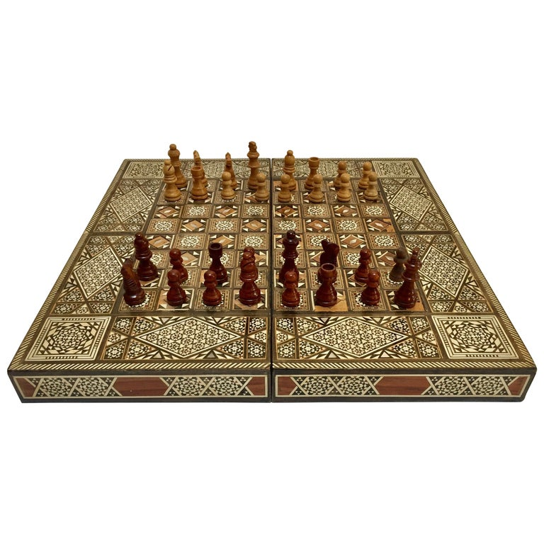 Vintage Large Complete Syrian Inlaid Mosaic Backgammon and Chess Game For Sale