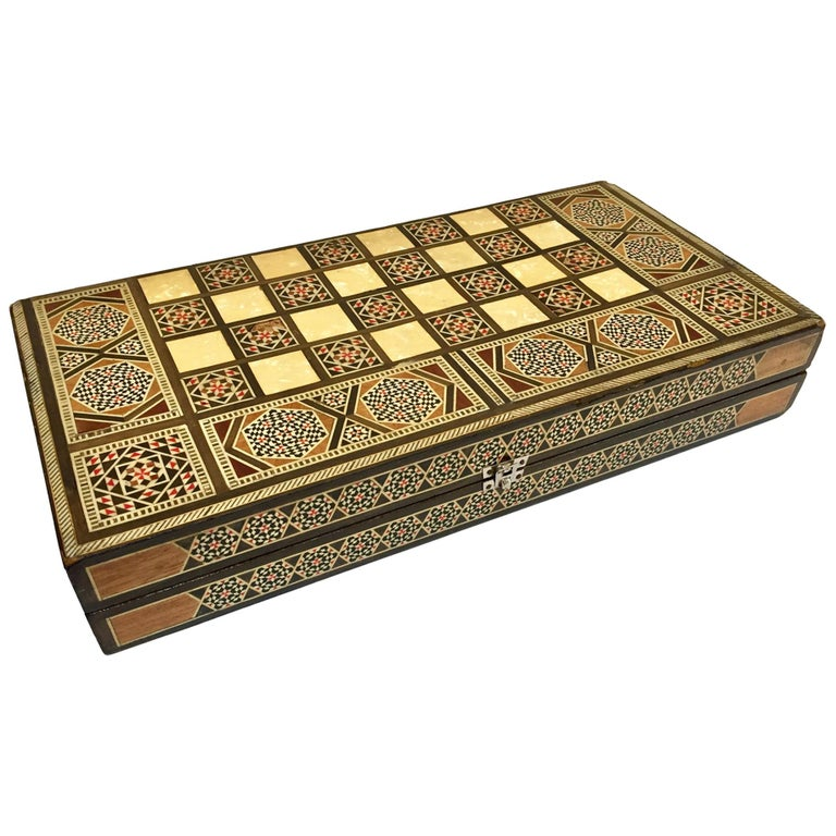 Large Mosaic Syrian Backgammon and Chess Wooden Inlaid Marquetry Box Game For Sale