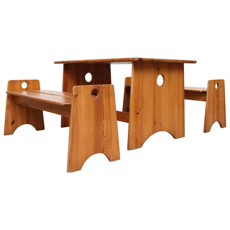 Gilbert Marklund Pine Dining Table and Bench Set For Sale
