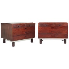 Italian Rosewood and Aluminum 1960s Bedside Tables by G. Frattini for Bernini