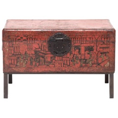 18th Century Chinese Red and Gilt Lacquered Trunk