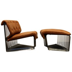 Verner Panton for Fritz Hansen Pantonova Leather Lounge Chair and Ottoman