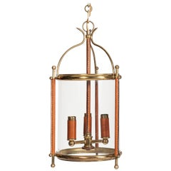 Stitched Leather Lantern by Jacques Adnet