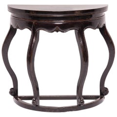 Black Lacquer Bulbous Demilune Table