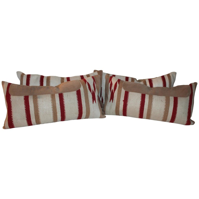 Navajo Indian Weaving / Saddle Blanket Pillows, Pair For Sale