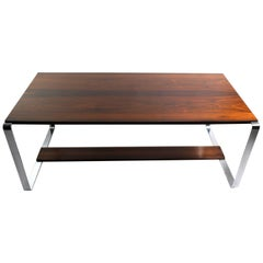 Mid Century Modern Rosewood and Chrome Coffee Table Marked Made in Norway