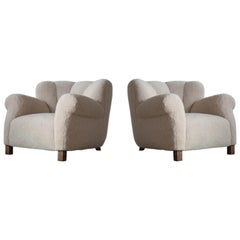 Pair of Danish Fritz Hansen Model 1518 Large Size Club Chair in Lambswool, 1940s