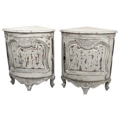 Pair of Country French Paint Decorated Corner Cabinets