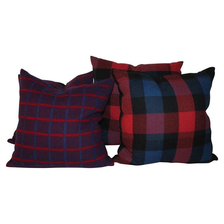 Vintage Wool Plaid Blanket Pillows, Pair For Sale