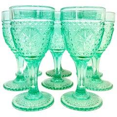 Mid-20th Century Cut Pressed Glass Aqua Stem Drink Glasses Set of 8