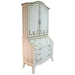 Custom Julia Gray, Ltd. Cream & Gilt Slant Front Secretary Bookcase