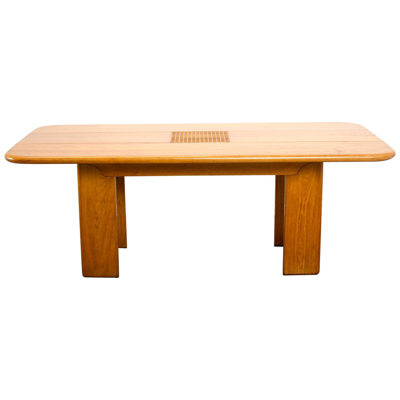Mid century Modern Blonde Walnut Timber Italian Dining Table, 1970
