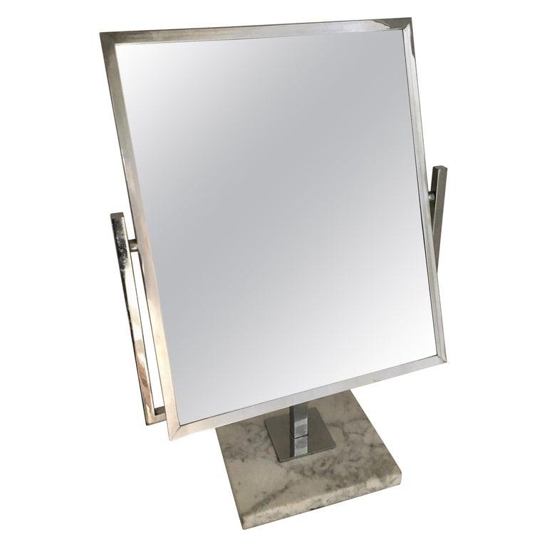 Table Vanity Mirror on Marble Base after Charles Hollis Jones For Sale