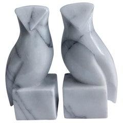 Pair of Carrara Marble Owl Bookends