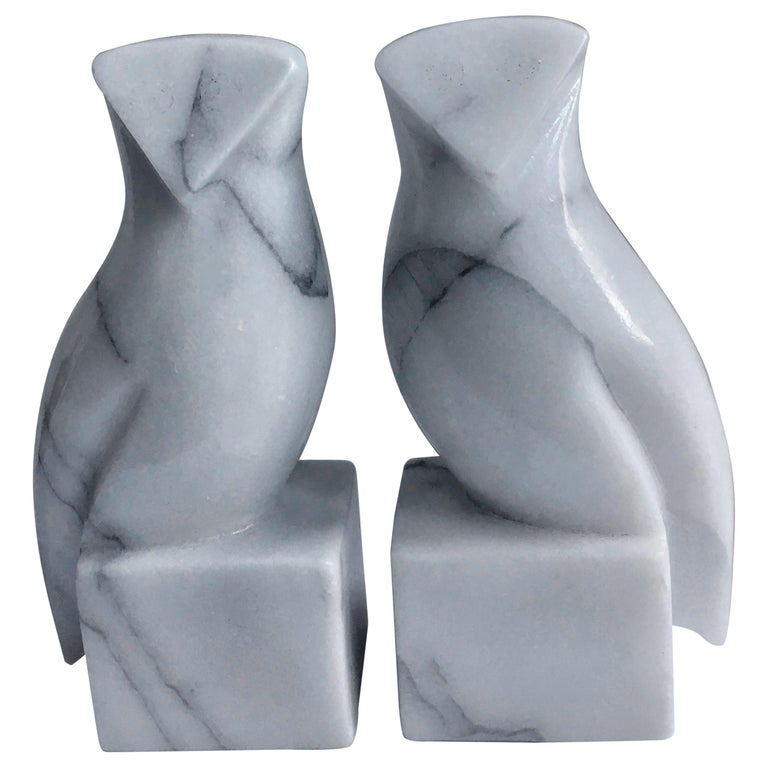 Pair of Carrara Marble Owl Bookends For Sale