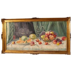 20th Century Oil on Canvas Italian Still Life Signed and Dated Painting, 1950