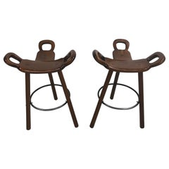 Set of Two Marbella Brutalist Bar Stools, 1970s