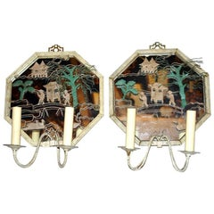 Chinoiserie Tole Sconces with Mirror Back