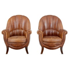 Fine Pair of Scandinavian Art Deco Leather Armchairs