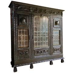 Antique Cabinet Heavily Carved Oak Victorian, circa 1880 Ebonized North European