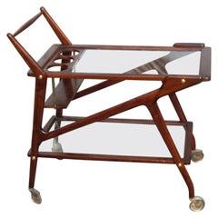 Bar Cart Wood and Glass Brown Color Italian Midcentury Design 1950s Geometric