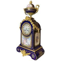 Ornate Gilt Bronze-Mounted Sèvres-Style Blue Ground Mantel Clock, circa 1880