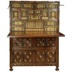 "Spanish Cabinet ""Bargueño"" Walnut, Wrought Iron, Stone, 17th Century"
