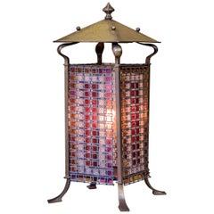 Antique Parisian Art Nouveau Stained Glass Table Lamp