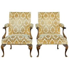 Pair of French 1920s Carved Armchairs