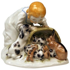 Meissen Girl with Rabbits Model 73441 Z 148 Max Bochmann Made 20th Century