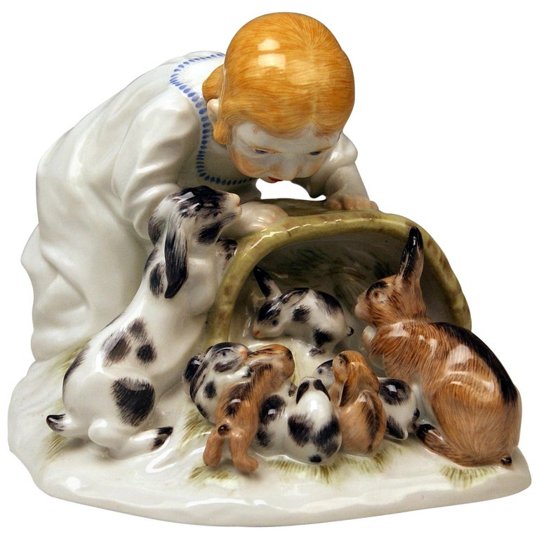 Meissen Girl with Rabbits Model 73441 Z 148 Max Bochmann Made 20th Century For Sale