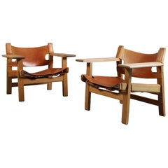 Pair of 'Spanish' Chairs by Børge Mogensen for Fredericia in Oak and Leather