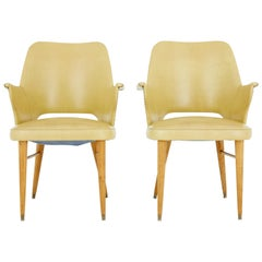 Pair of 1950s Leatherette Scandinavian Design Armchairs