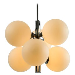 1960s Kaiser Chrome-Plated Metal Ceiling Lamp with 6 Opal Glass Balls Sp