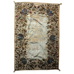 Persian Style Velvet and Silk Embroidered Panel, circa 1900