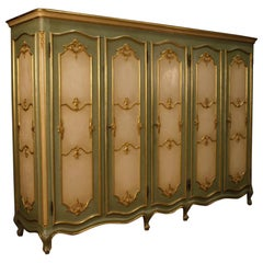 20th Century Lacquered and Giltwood Venetian 5 Doors Wardrobe, 1960