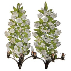 19th Century Huge Italian Tole and Bisque Porcelain Flowers Sconces