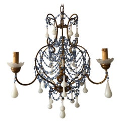 Rare Lavender and White Opaline French Chandelier