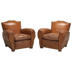 Pair of French Leather Moustache Back Club Chairs, Restored