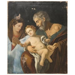 19th Century Italian Religious Oil Painting on Canvas, The Holy Family