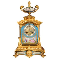 Ormolu and Sèvres Porcelain Antique French Boudoir Clock by Japy Freres