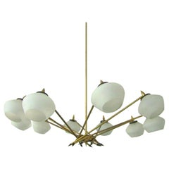 1950s Italian Ten-Arm Chandelier with White Opaline Shades