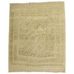 Tone on Tone Vintage Persian Souf Carpet, Square Size