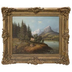 19th Century Oil Painting on Canvas Mountain Landscape