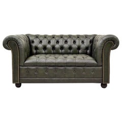 Chesterfield Sofa Leather Antique Vintage Couch English Chippendale