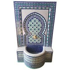 Blue / White / Aqua Moroccan Mosaic Tile Fountain